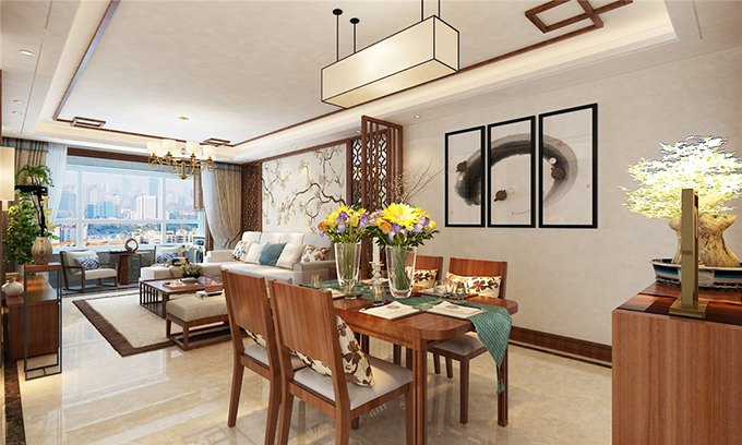 新中式装修风格70平米餐厅装修效果图