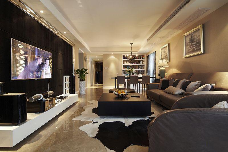 90平北欧装修风格客厅全景欣赏图