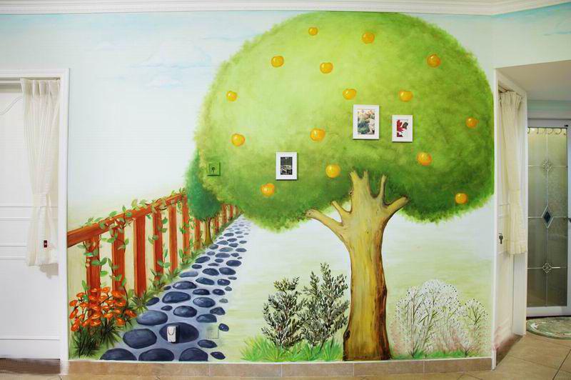 110平米美式田园装修风格儿童房背景墙图片