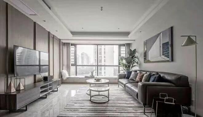 株洲110平米现代简约客厅全景图