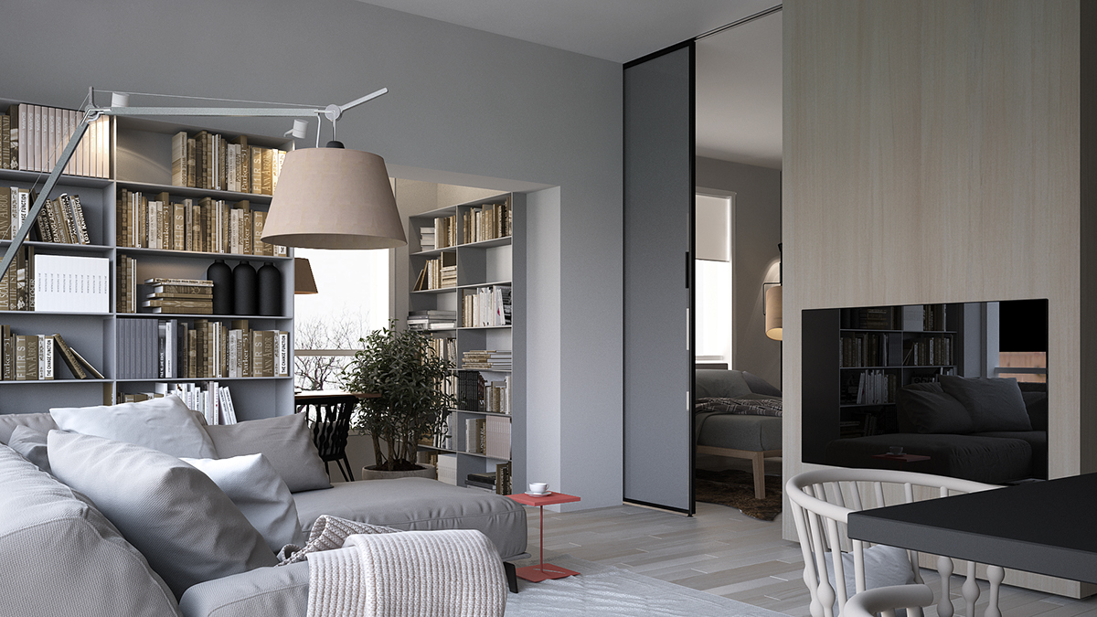 86平米北欧现代风格书房装修效果图