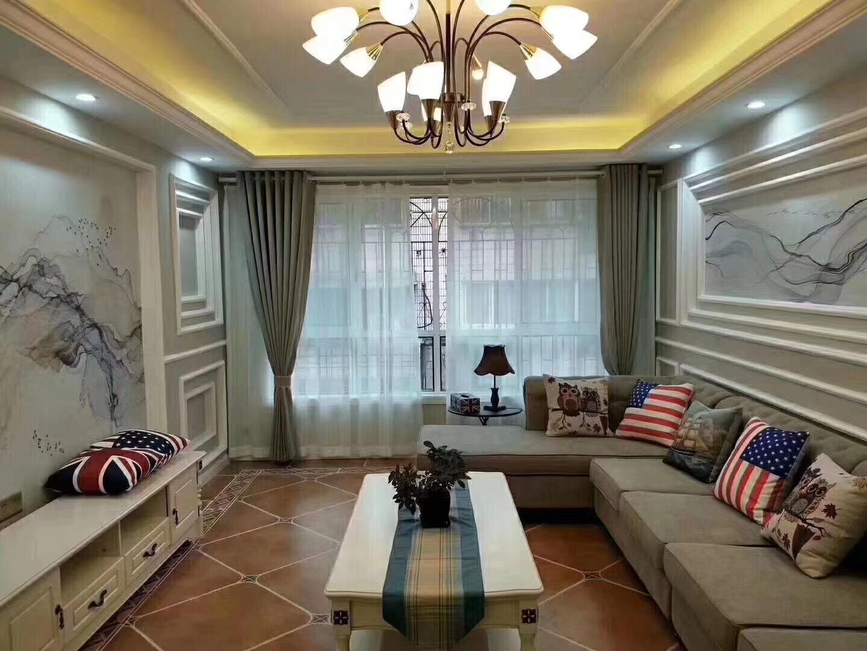 110平米地中海风格客厅全景图