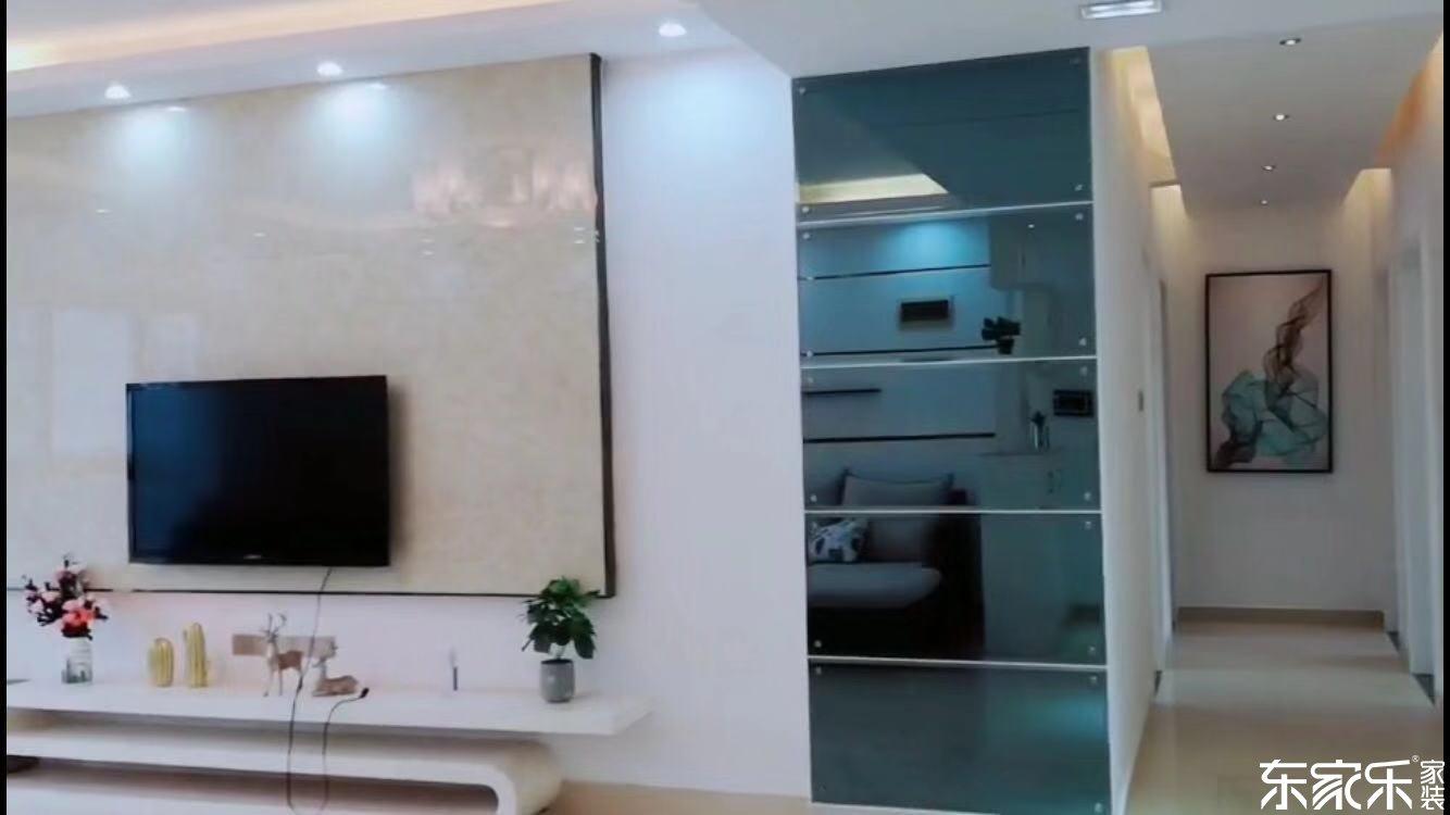 100平米现代简约风格客厅玄关设计展示图