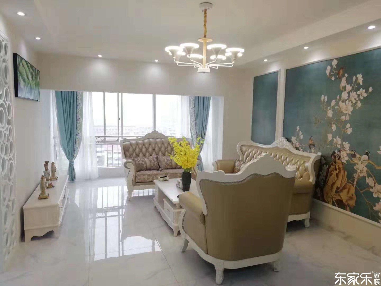 90平米简欧风格客厅沙发背景图展示图